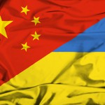 Waving flag of Ukraine and China