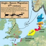 fot. Anglo-Saxon Migration in the 5th century By my work [CC BY-SA 3.0 (http://creativecommons.org/licenses/by-sa/3.0)], via Wikimedia Commons
